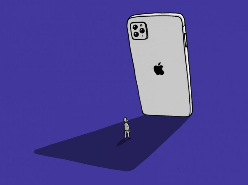 Cartoon mit iPhone